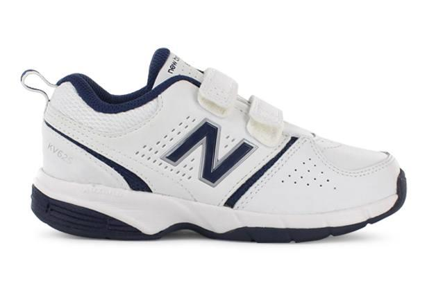 The New Balance Kids KV625 is a white based kids' cross training shoe, perfect for school regulations.