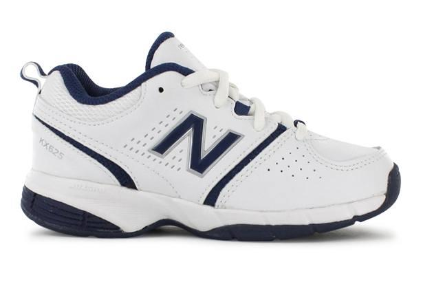 The New Balance Kids KX625 is a white based kids' cross training shoe, perfect for school regulations.