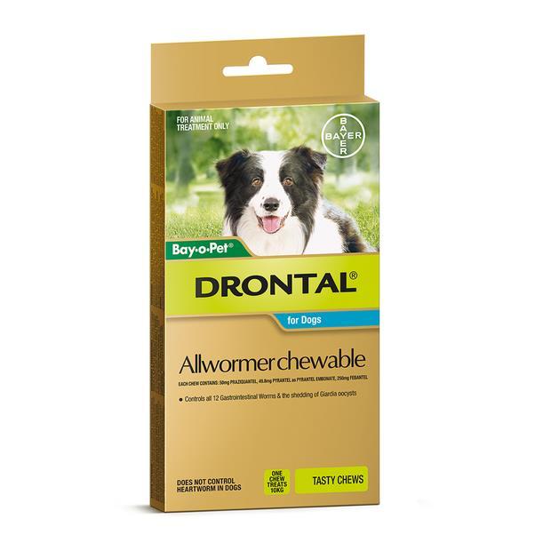 Drontal Chewable 10kg 2 Pack Pet: Dog Category: Dog Supplies  Size: 0.1kg  Rich Description: Drontal...