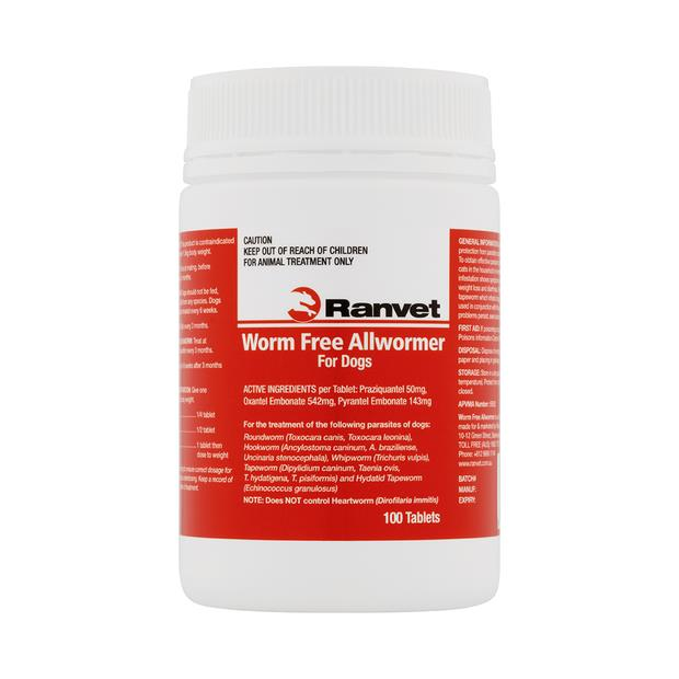 Ranvet Allwormer Small Dog 100 Tablets Pet: Dog Category: Dog Supplies  Size: 0.1kg  Rich Description:...