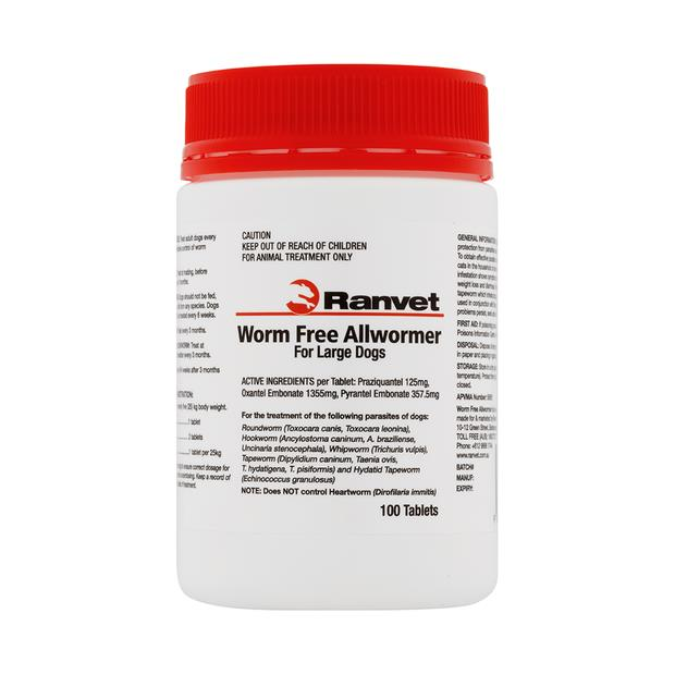 Ranvet Allwormer Large Dog 100 Tablets Pet: Dog Category: Dog Supplies  Size: 0.1kg  Rich Description:...