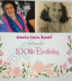 Congratulations Amelia Russell {Joyce} Reaching 100 Year milestone on the 7yh March 2021Love and Best...