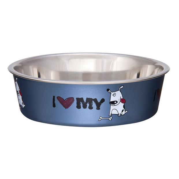 Loving Pets Bella Bowl I Love My Dog Steel Blue Small Pet: Dog Category: Dog Supplies  Size: 1.8kg...