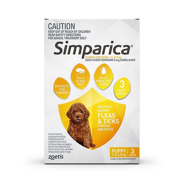 Simparica Flea Tick Chews Puppy 3 Pack Pet: Dog Category: Dog Supplies  Size: 0.5kg  Rich Description:...