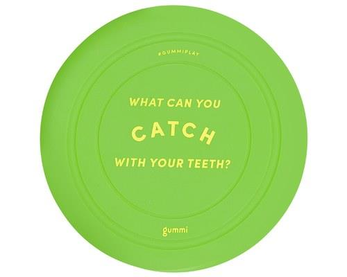 GUMMI PET SILICONE GREEN FRISBEE'What can you catch with your teeth?'Hmmm... is that a challenge...
