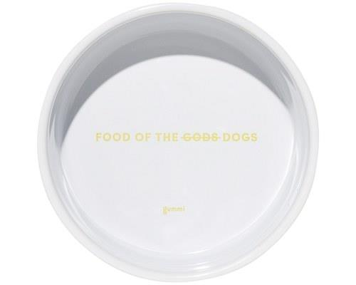 GUMMI PET TEXT CERAMIC BOWL YELLOW MEDIUMSorry Zeus, this one ain't for you. This is the food of the...