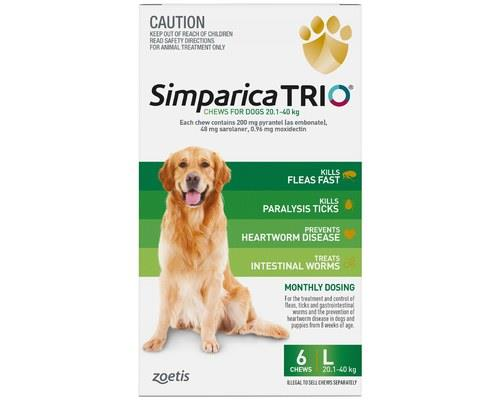 SIMPARICA TRIO 20.1-40KG GREEN 6PKNo need to prise open the bear trap that is your dogs jaws when...