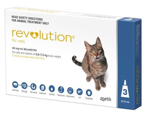 REVOLUTION CAT 3 PACK - BLUEFor a fast working, effective flea treatment for cats, try Revolution...