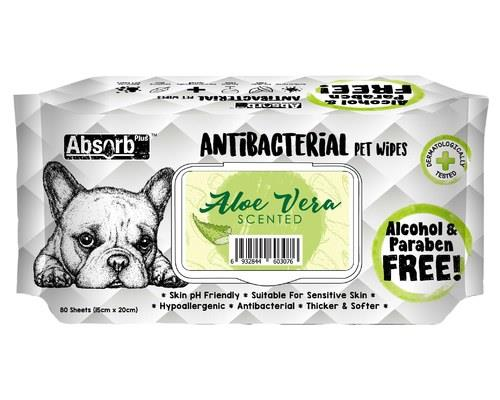 ABSORB PLUS ANTIBACTERIAL PET WIPES - ALOE VERA 80 SHEETSAll dogs need a little extra help keeping...