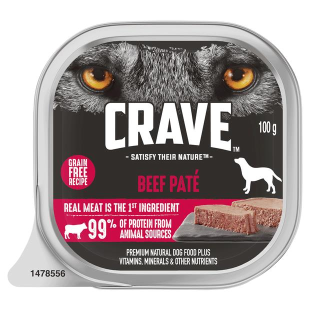 Crave Wet Dog Food Beef Pate Tray 12 X 100g Pet: Dog Category: Dog Supplies  Size: 1.4kg  Rich...