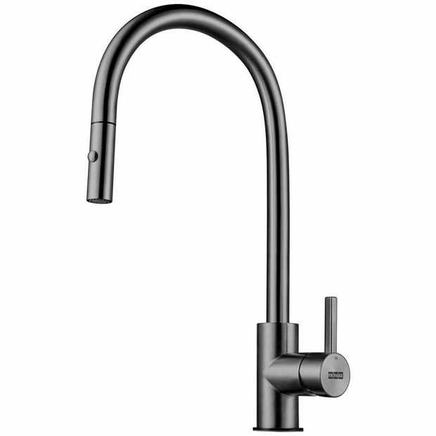 Gun Metal finish Gooseneck 180 tap swivel Pull-Out style 5 WELS Star Rating Style: Pull-Out Tap Swivel...