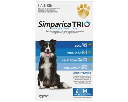SIMPARICA TRIO 10.1-20KG BLUE 6PKProtecting against fleas, ticks (including deadly paralysis ticks)...