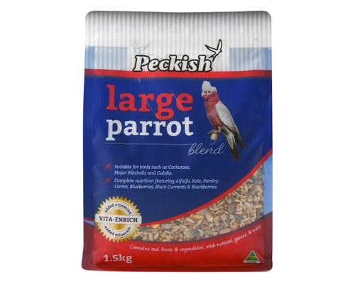 PECKISH LARGE PARROT BLEND 1.5KGGive large parrots such as cockatoos, major mitchells and galahs the...