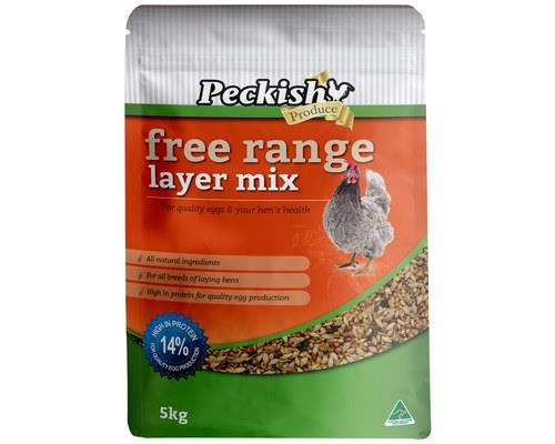 PECKISH FREE RANGE LAYER MIX 5KGFor better performance in all breeds of laying hens from 18-20 weeks...