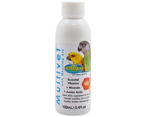 VETAFARM MULTIVET LIQUID WITH MOULTING AID 100MLSupplement the diet of your bird with the essential...