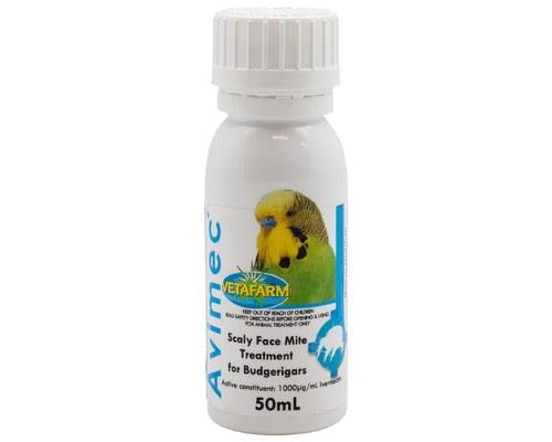 VETAFARM AVIMEC 50MLTreat scaley face mites with this simple 'drop on' liquid for budgerigars. This...