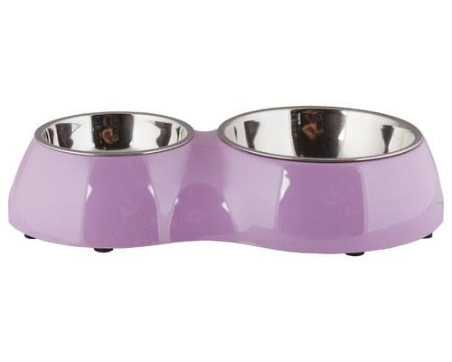 Catit 2-in-1 Plastic and Stainless Steel Double Diner Cat Bowl, PinkSize:30cm L x 17.5cm W x 6cm...