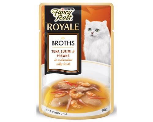FANCY FEAST BROTH TUNA SURIMI PRAWN 40GProvide your cat with the key nutrients in a decadent silky...