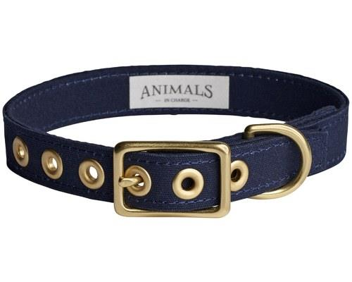 ANIMALS IN CHARGE NAVY + BRASS ALL WEATHER COLLAR: EXTRA LARGEAnimals in Charge let you take charge!