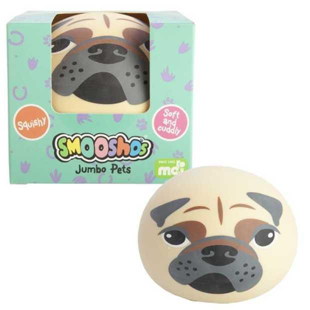 Jumbo-sized Smoosho ball for extra squish!  Features an adorable pug design  Smoosho's amazing...