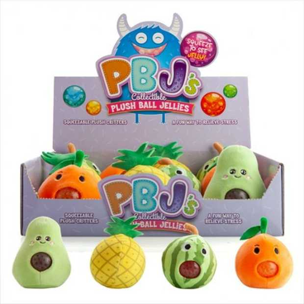 Soft & fuzzy round plush filled with colourful jellies that pop out with a squeeze!  Squish em and...