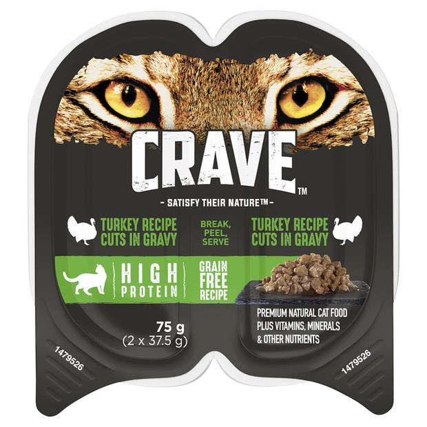 Crave Wet Cat Food Turkey Cuts In Gravy Tray 24 X 75g Pet: Cat Category: Cat Supplies  Size: 2.2kg...