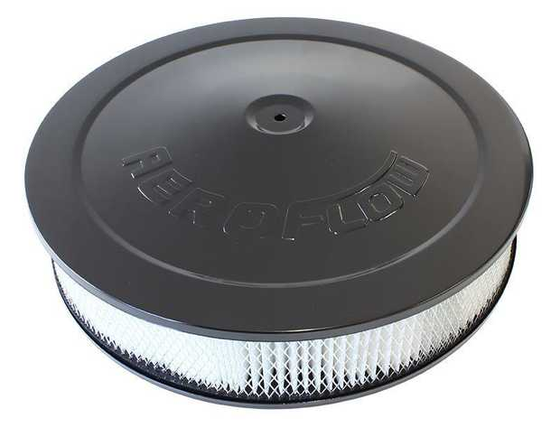 "Black Air Filter Assembly with 1-1/8"" Drop base 14"" x 3"", 5-1/8"" neck, paper element"
