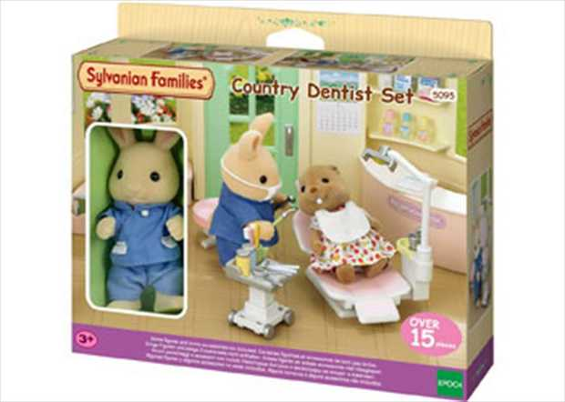 The Country Dentist includes Alex Periwinkle with a dentist uniform, check-up bed and many accessories...