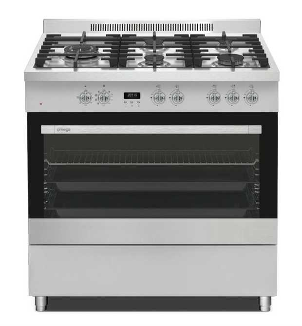 129L Oven capacity 5 burners Twin Fan Safe Touch Multifunction Knob & Button Control Stainless Steel...