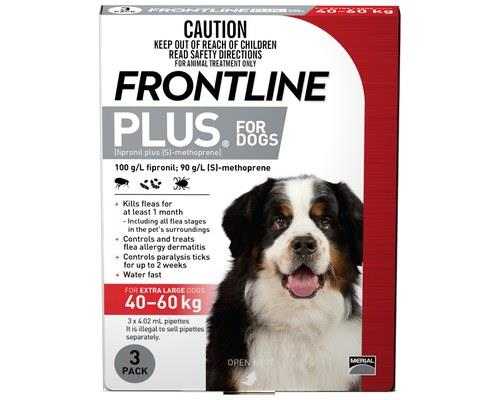 FRONTLINE PLUS DOG XLARGE 40-60KG (3PK) - REDFor the treatment and prevention fleas and control of...