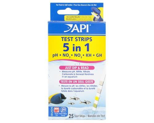 API QUICK TESTING STRIPS 5 IN 1 25PACK For a quick and accurate way to test for pH, Nitrate, Nitrite...