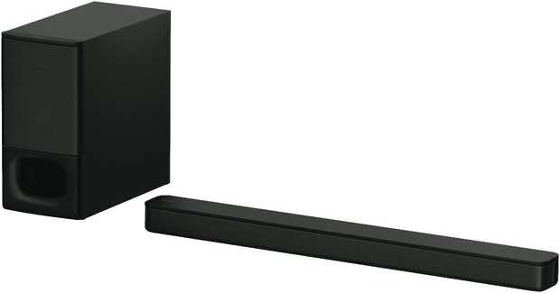 This Sony sound bar speaker has two channels. It plays Dolby Digital and LPCM audio formats. Plus, you...