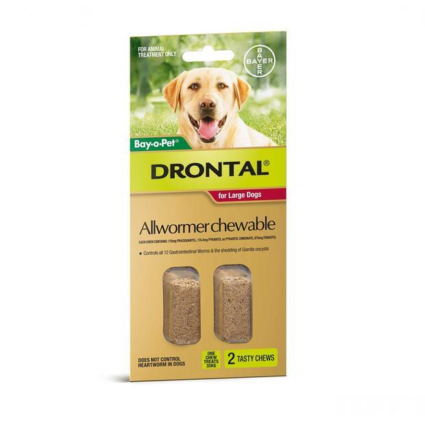 Drontal Chewable 35kg 2 Pack Pet: Dog Category: Dog Supplies  Size: 0.1kg  Rich Description: Drontal...