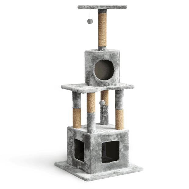 The Catsentials Three Level Dual Condo Cat Tree Each Pet: Cat Category: Cat Supplies  Size: 20kg...