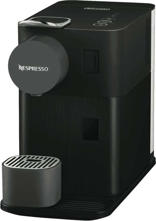 Make coffee drinks anytime with this Nespresso coffee machine's espresso maker. It has a black finish...
