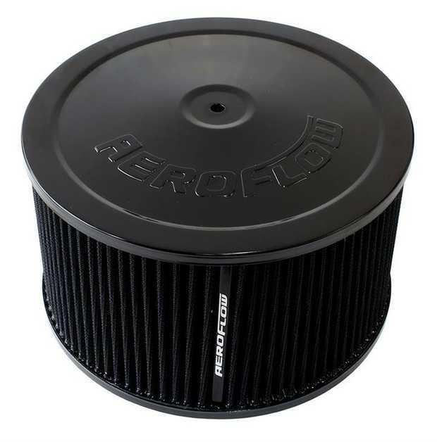 "Black Air Filter Assembly 9"" x 5"", 5-1/8"" neck, black washable cotton element"