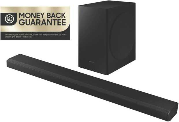 This Samsung sound bar speaker has three channels. It plays MP3, AAC, FLAC, WAV, and OGG audio formats.