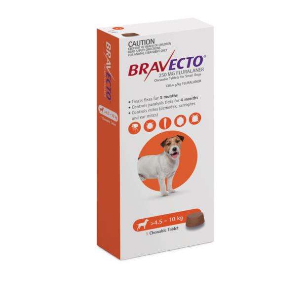 Bravecto Small Dog Orange Protection 12 Month Pet: Dog Category: Dog Supplies  Size: 0.8kg  Rich...
