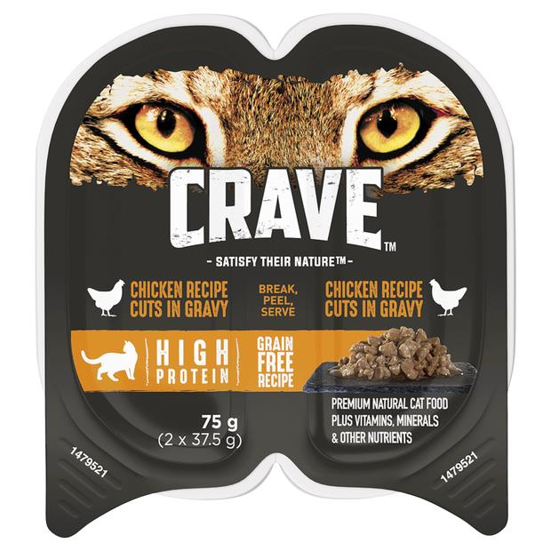 Crave Wet Cat Food Chicken Cuts In Gravy Tray 24 X 75g Pet: Cat Category: Cat Supplies  Size: 2.2kg...