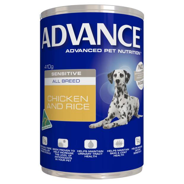 Advance Adult Sensitive All Breed Chicken And Rice Wet Dog Food Cans 12 X 410g Pet: Dog Category: Dog...