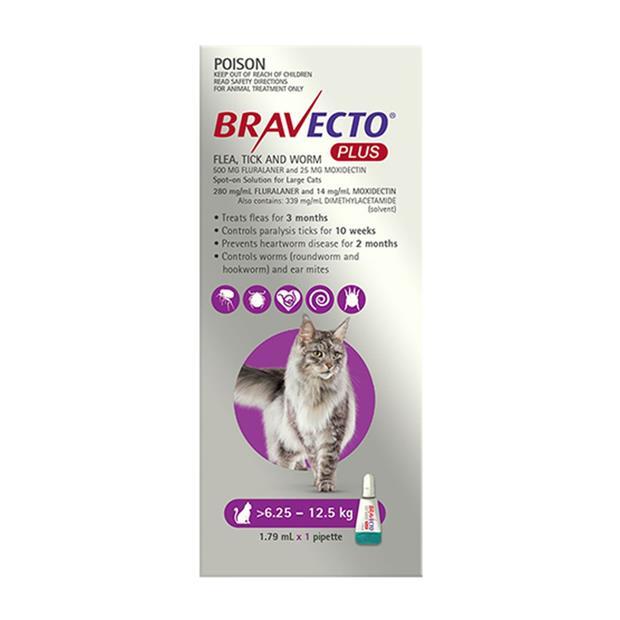 Bravecto Plus For Large Cats Protection 4 Month Pet: Cat Category: Cat Supplies  Size: 0.2kg  Rich...