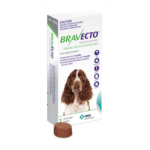 Bravecto Medium Dog Green Protection 3 Month Pet: Dog Category: Dog Supplies  Size: 0.2kg  Rich...