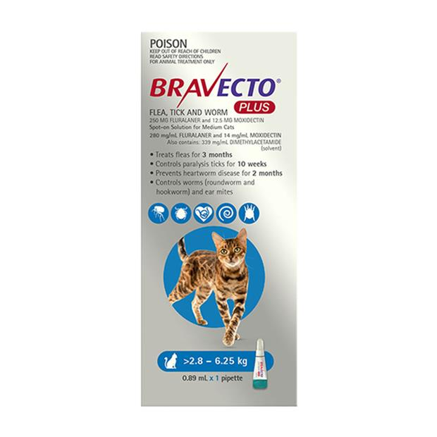Bravecto Plus For Medium Cats Protection 4 Month Pet: Cat Category: Cat Supplies  Size: 0.2kg  Rich...