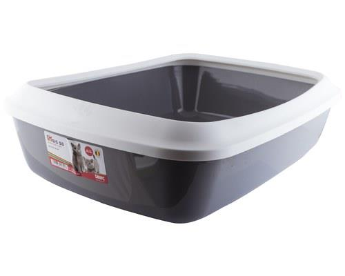 IRIZ CAT LITTER TRAY WITH RIM WHITE COLD GREY 50CM 50CMX36CMX11.5CMThe Isis Cat Litter tray is a...