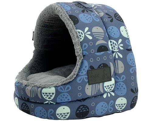 LA DOGGIE VITA CAT HOUSE HOODED INDIGOOffer your feline friend a place to cat-ch some Z's with this...