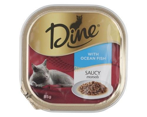 Dine Cat Food, Ocean Fish in Seafood Sauce, 85gSaucy morsels of ocean fish are in this Dine cat food.
