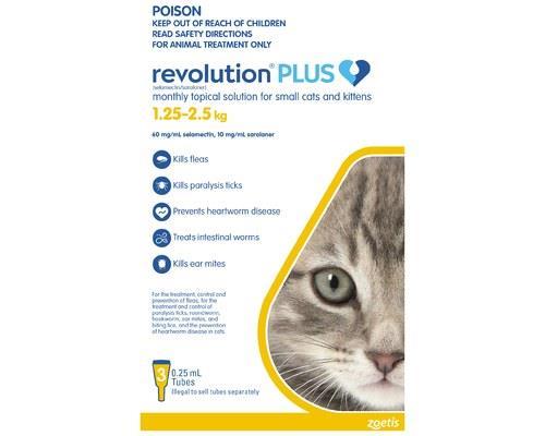 REVOLUTION CAT PLUS KITTEN 3 PACK 1.25-2.5KGRevolution Spot On treatment for cats provides a 6-in-1...