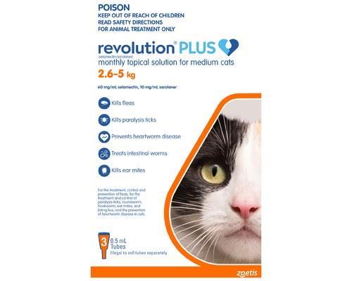 REVOLUTION CAT PLUS MEDIUM 3 PACK 2.5-5KGRevolution Spot On treatment for cats provides a 6-in-1 pest...
