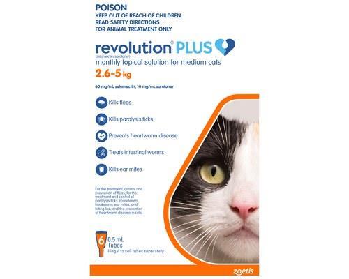 REVOLUTION CAT PLUS MEDIUM 6 PACK 2.5-5KGRevolution Spot On treatment for cats provides a 6-in-1 pest...