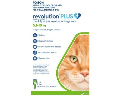 REVOLUTION CAT PLUS LARGE 6 PACK 5-10KGRevolution Spot On treatment for cats provides a 6-in-1 pest...